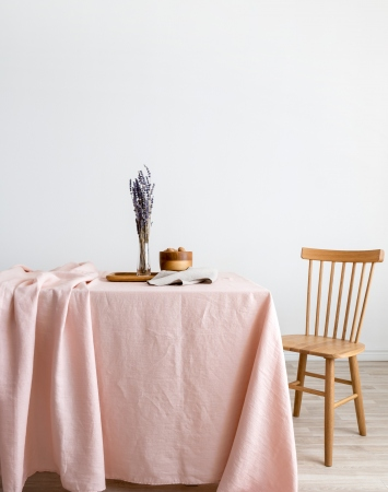 Light pink washed linen tablecloth