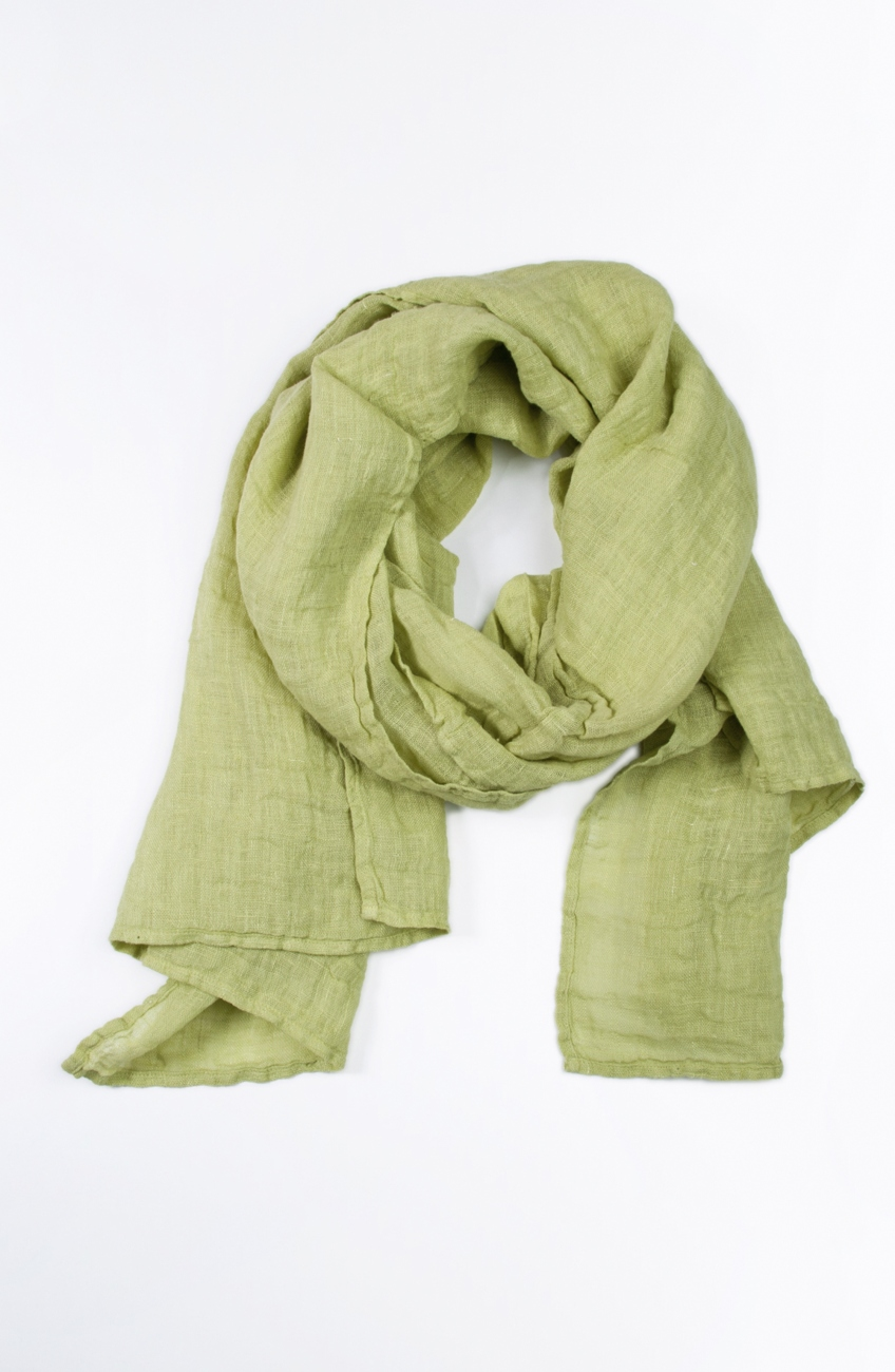 Lime green linen scarf