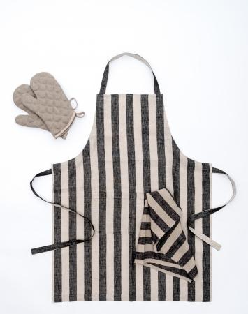 Linen bib apron with a black stripe pattern