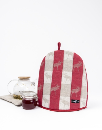 Linen blend tea cozy with elk pattern