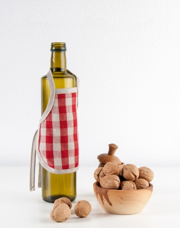 Linen bottle apron with red gingham check pattern