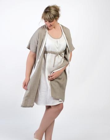 Linen kimono dressing gown