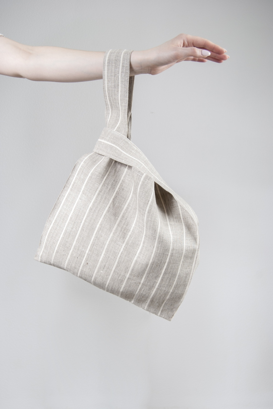 Linen knot bag with candy stripe pattern