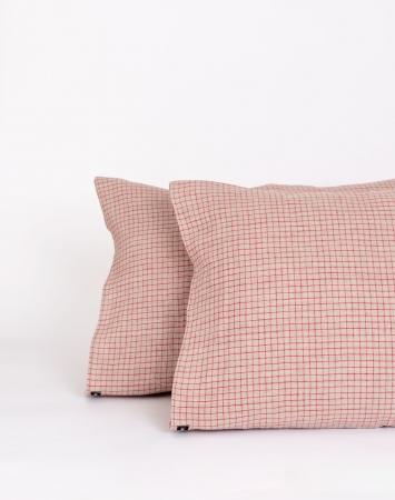 Linen pillowcase with small graph red checks