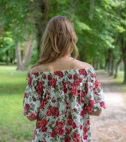 Red, floral off-shoulder linen top