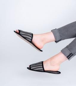 Striped linen blend slippers