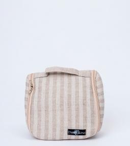 Striped linen blend toiletries bag