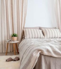 Striped linen bedding