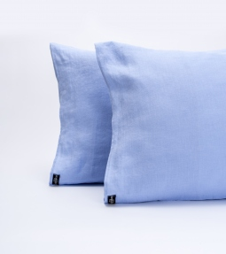 Cornflower blue linen pillowcase