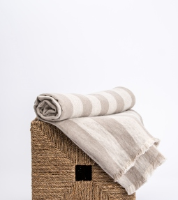 Striped twill linen throw