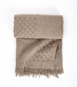 Natural linen throw with fringe Helena