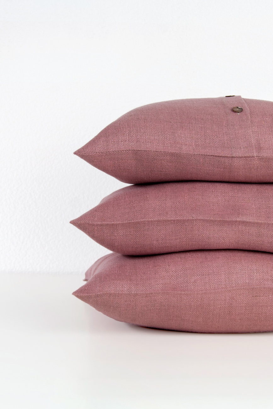 Melange linen throw pillow cover with buttons