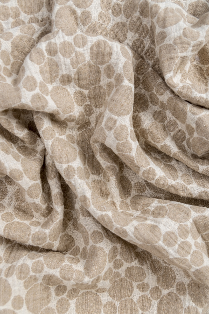 Midweight linen jacquard fabric with bubble pattern