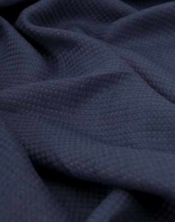 Midweight waffle linen fabric in denim blue