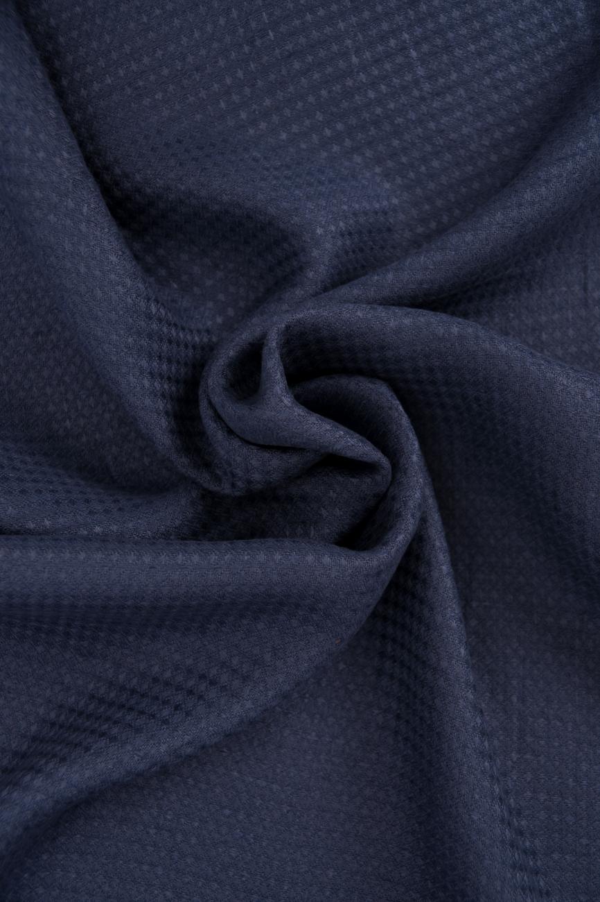 Midweight waffle linen fabric in denim blue