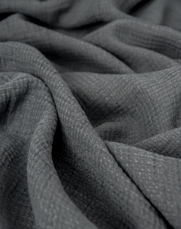 Midweight waffle linen fabric in grey