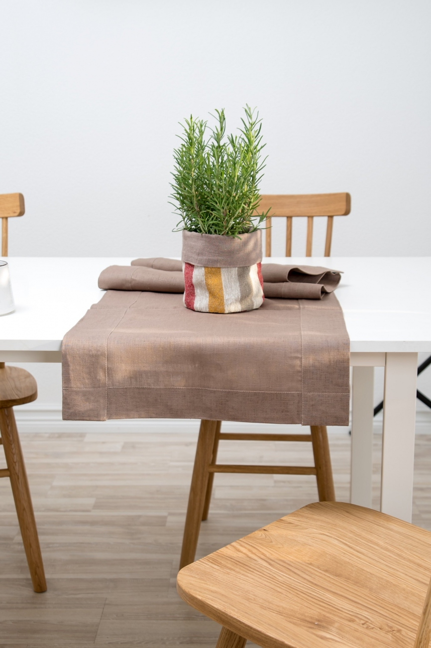 Mittred corner brown linen table runner