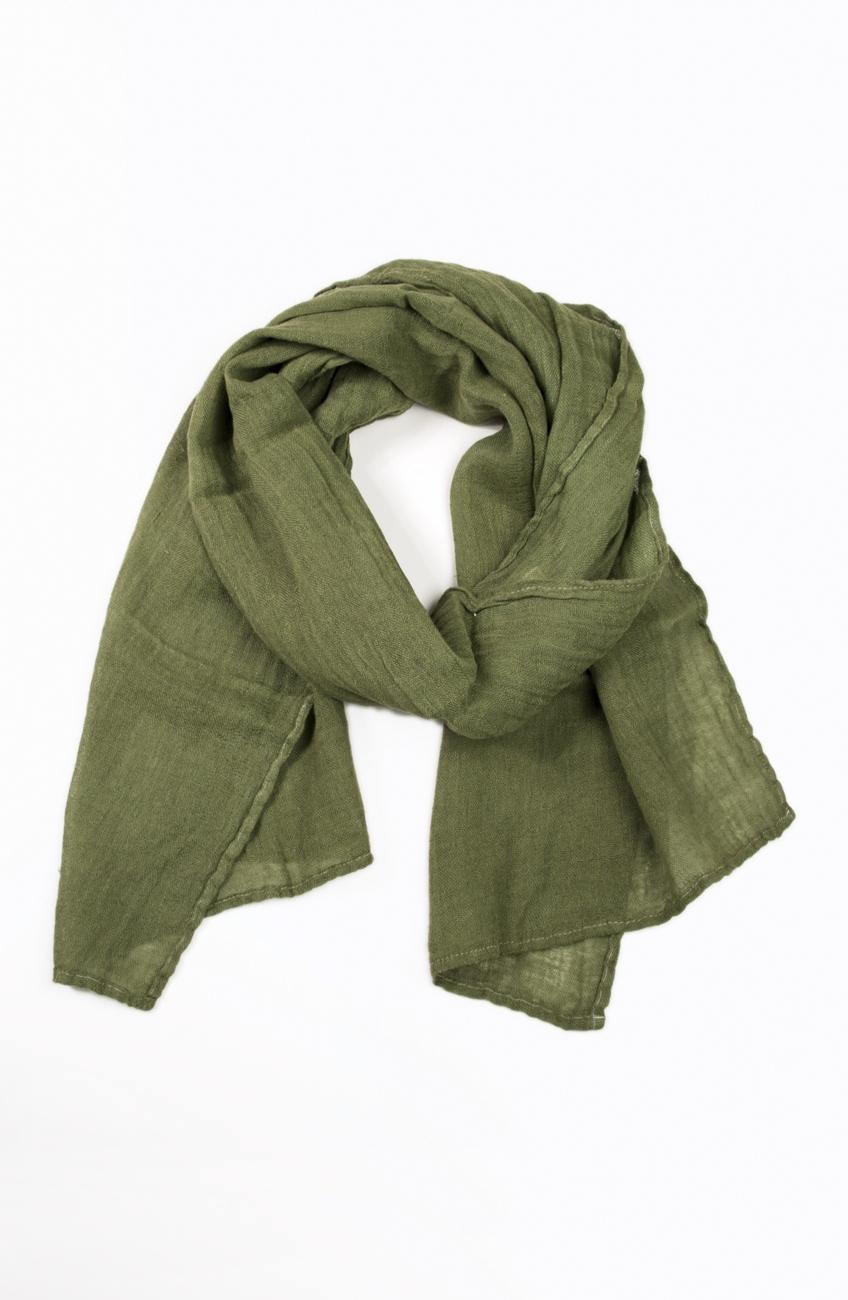 Moss green linen scarf