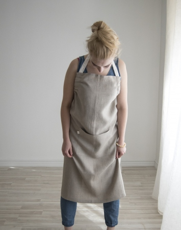 Nartural washed linen bib apron with a pocket