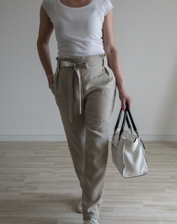 Natural fitted linen pants with paper bag waist