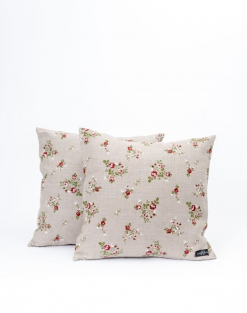 Natural floral linen cushion covers