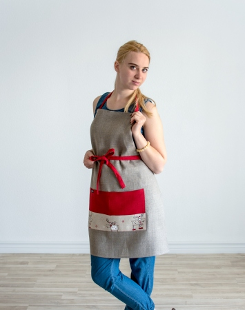 Natural linen bib apron with Christmas application