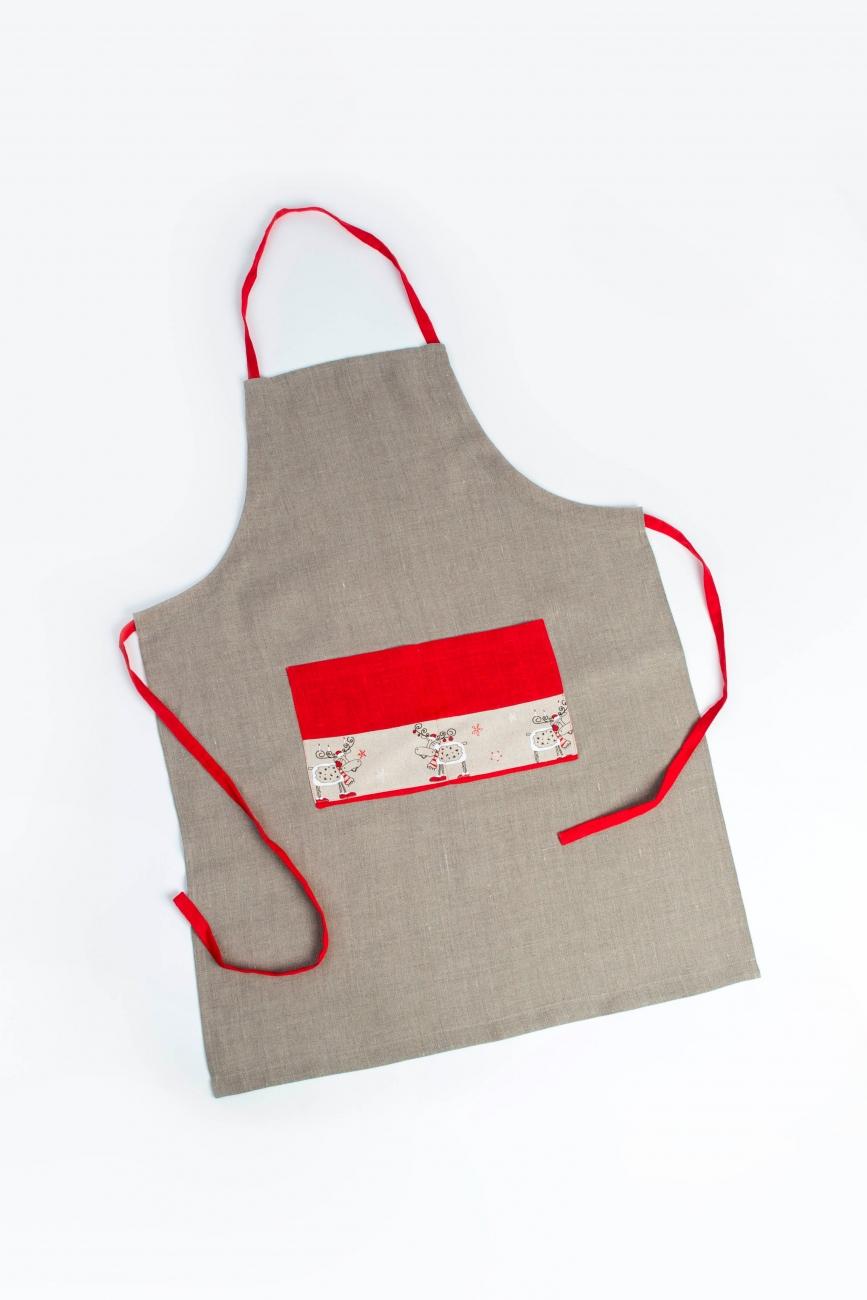Natural linen bib apron with Christmas application