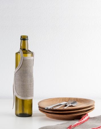 Natural linen bottle apron