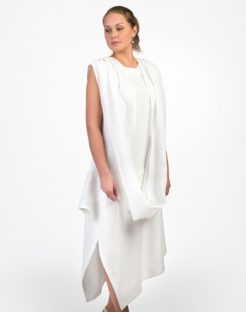 Natural linen dress with scarf