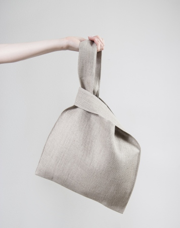 Natural linen knot bag
