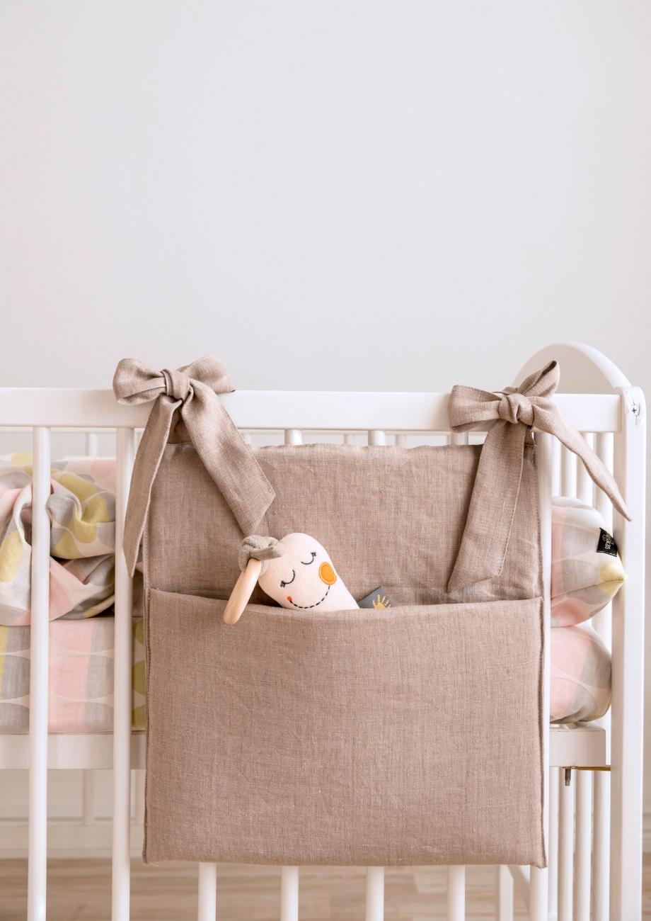 Natural linen nursery crib organizer