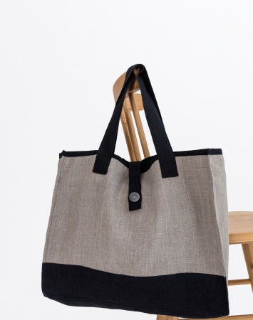 Natural linen shopper with contrast details