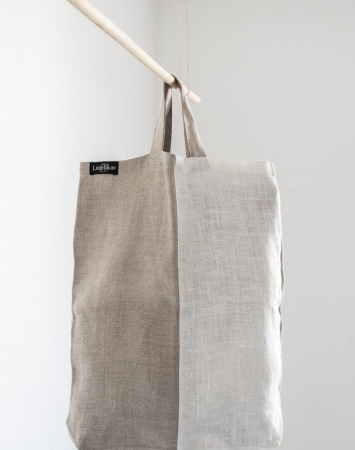 Natural linen shopping bag with short handles