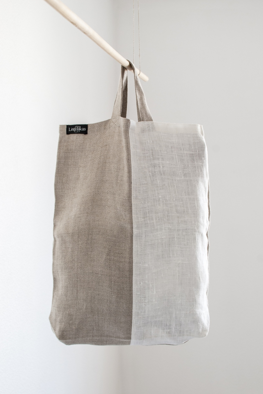 Natural linen shopping bag with short handles