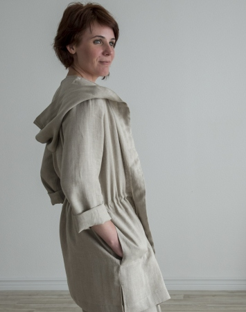 Natural linen summer jacket with a hood