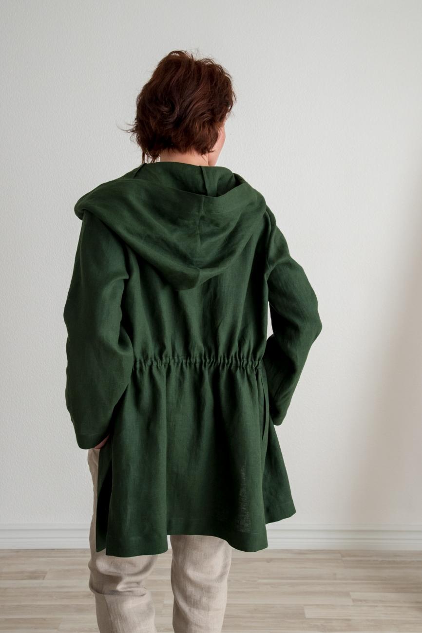 Natural linen summer jacket with a hood