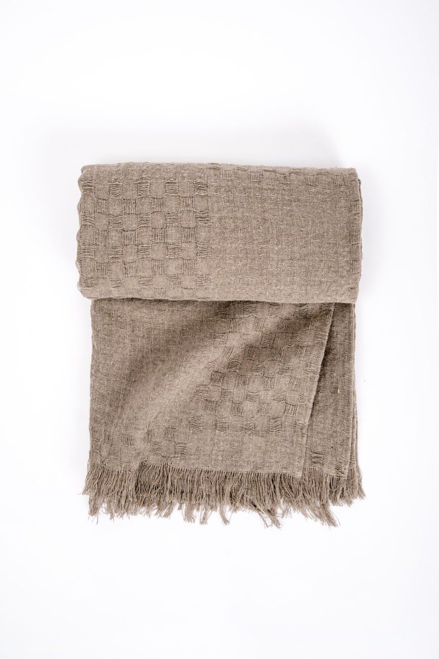 Natural linen throw blanket with simple hem