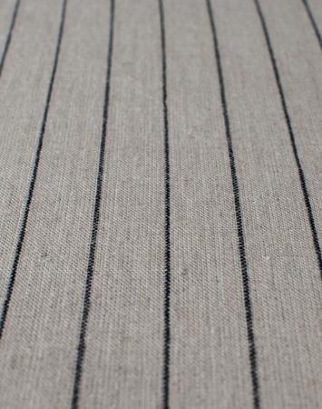 Natural middle-weight linen with black pencil stripes