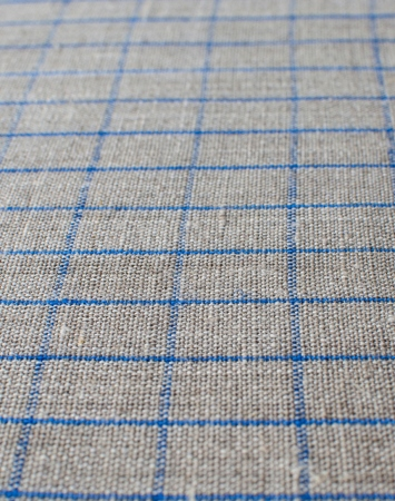 Natural middle-weight linen with blue graph checks