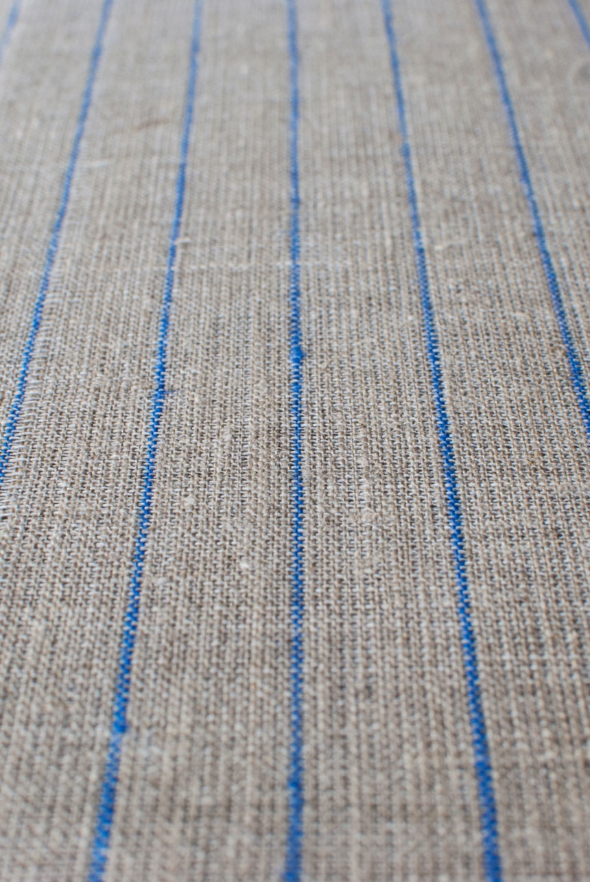 Natural middle-weight linen with blue pencil stripes