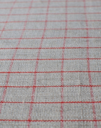 Natural middle-weight linen with red graph checks
