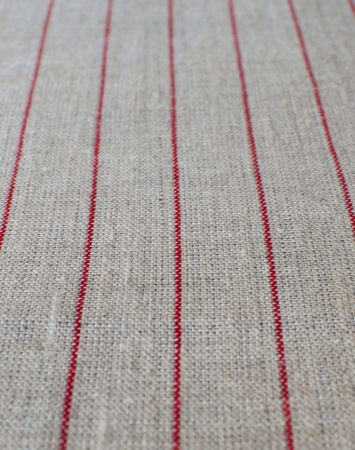 Natural middle-weight linen with red pencil stripes
