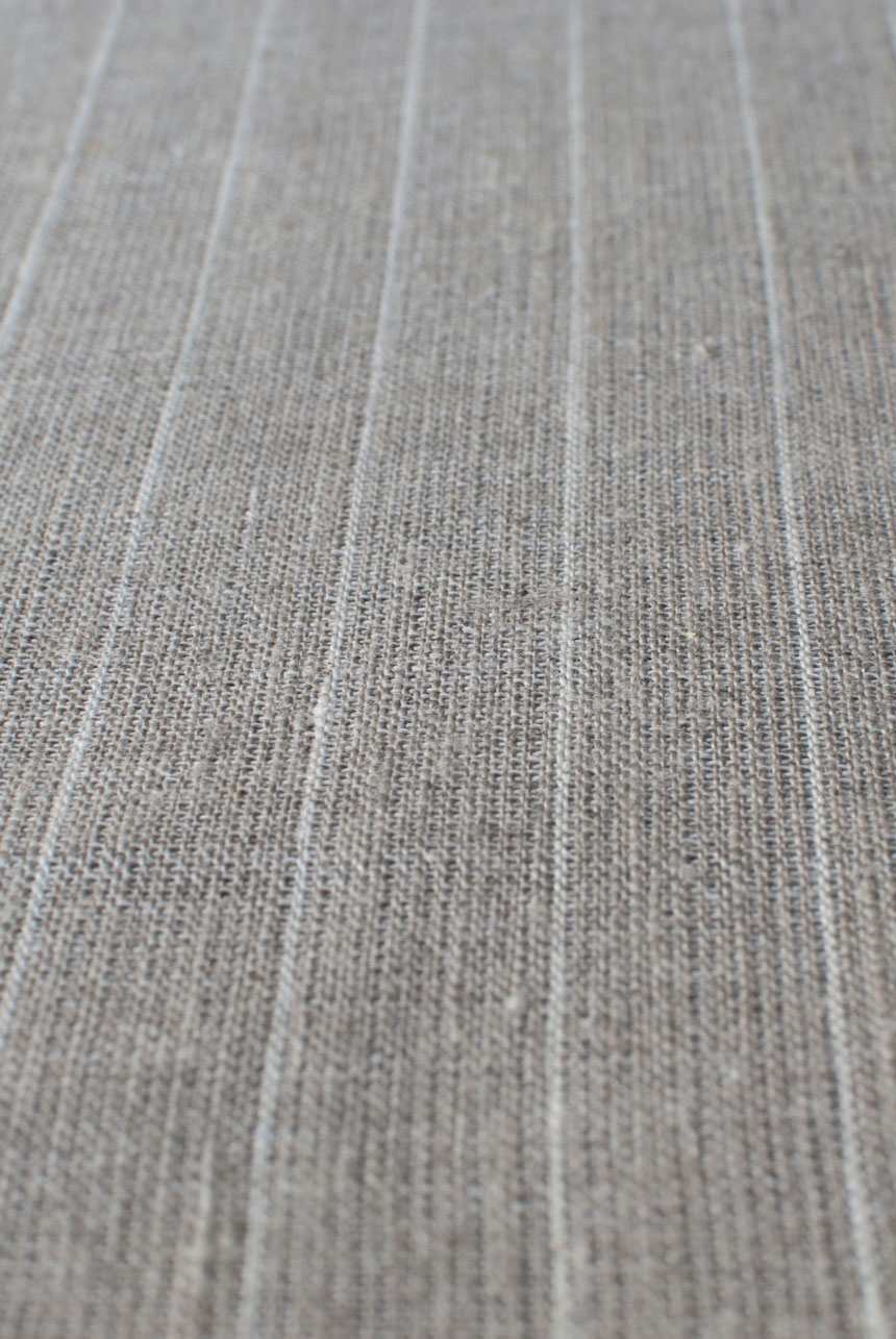 Natural middle-weight linen with white pencil stripes