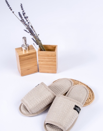 Natural open toe waffle linen bath spa slippers