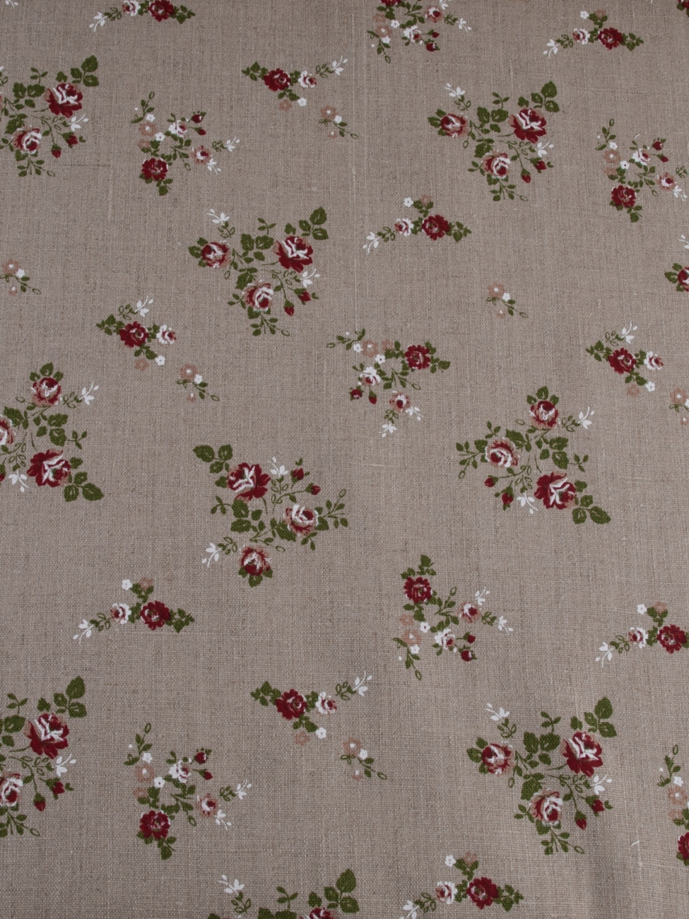 Natural pre-washed linen with small rose print