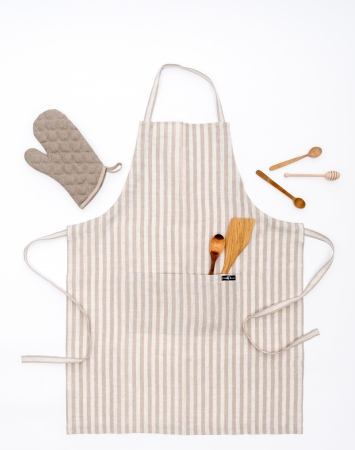 Natural striped linen bib apron with a double pocket