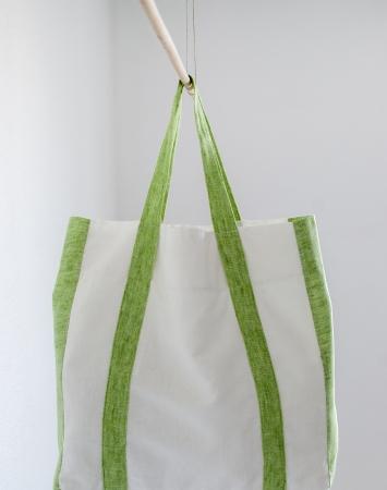 Off-white linen shopper bag with green details