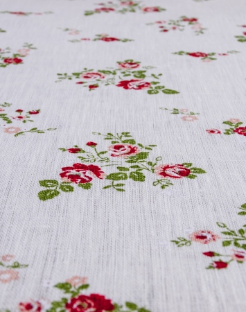 Off-white pre-washed linen with small rose print