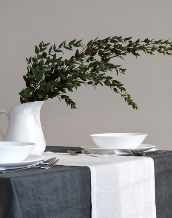 Off-white soft linen table runner