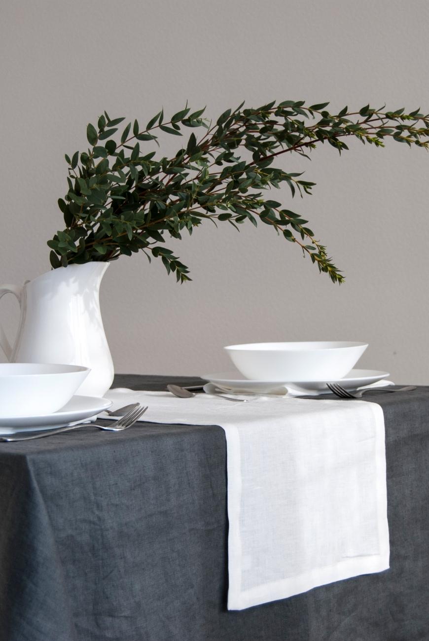 Off-white soft linen table runner